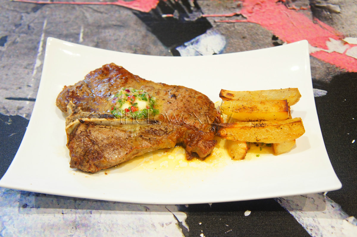 Oven Roasted Garlic Butter T-Bone Steak & Baked Potatoes