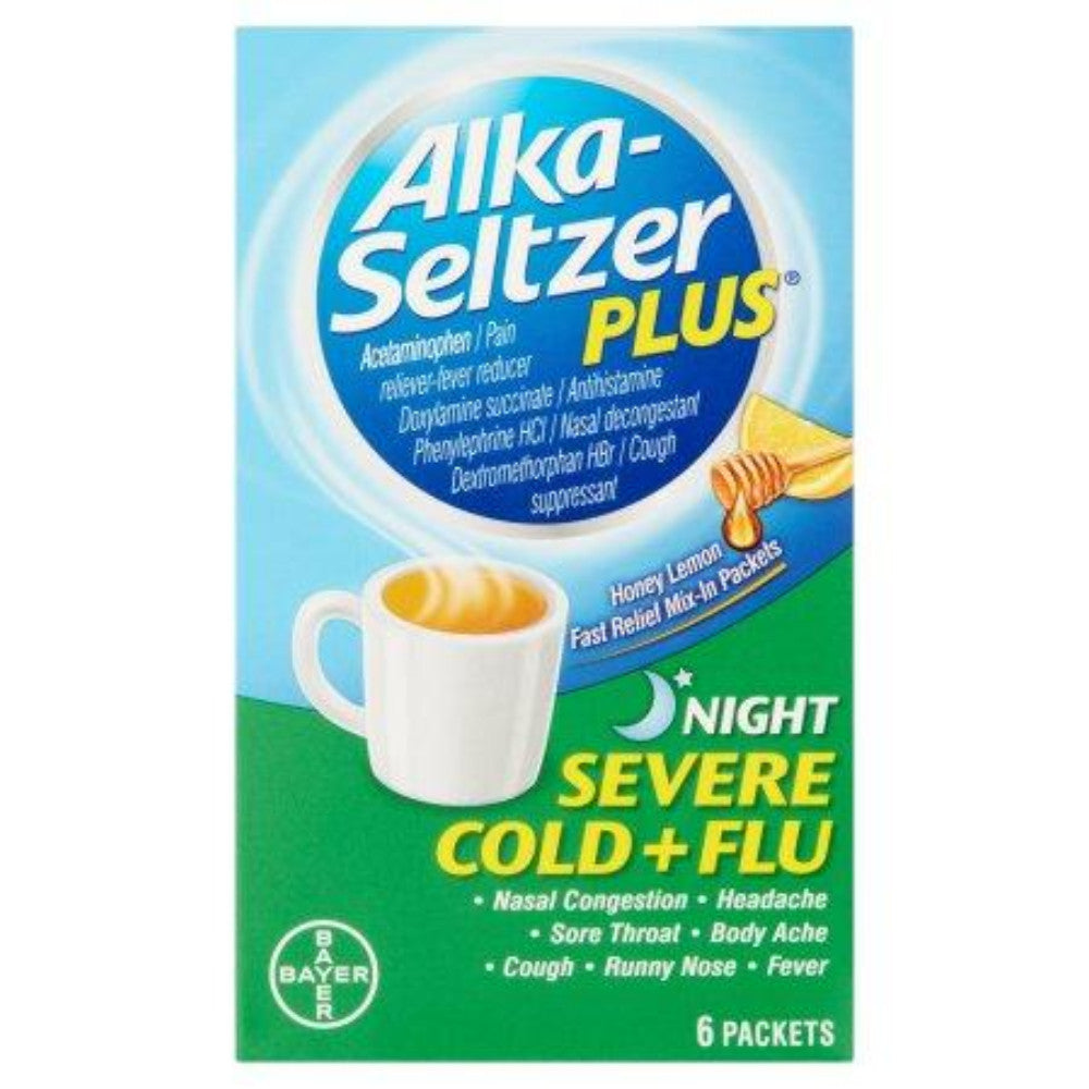 Alka-Seltzer Plus Severe Cold And Flu Night Powder, 6ct