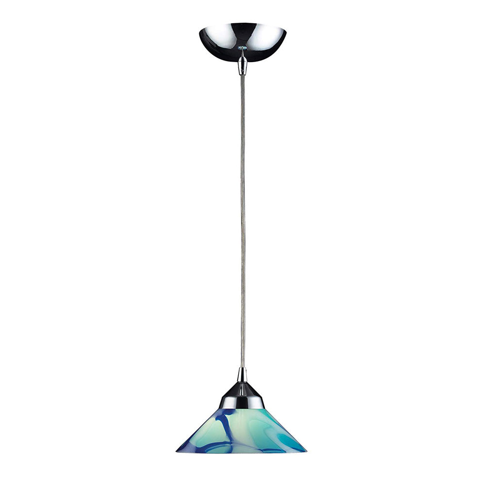 Elk 1477/1CAR 1-Light Pendant In Polished Chrome with Caribbean Glass