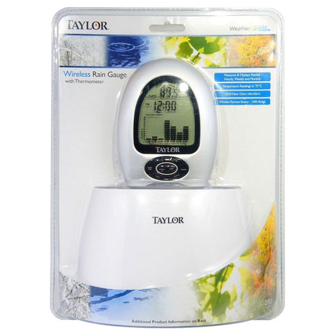 Taylor 2755 Wireless Rain Gauge & Thermometer Programmable