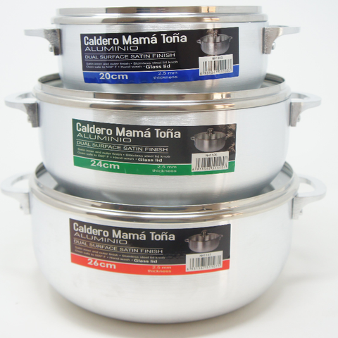 Dominican Calderos Mama Toña Aluminum Dual Surface Satin Finish Sauce Pot