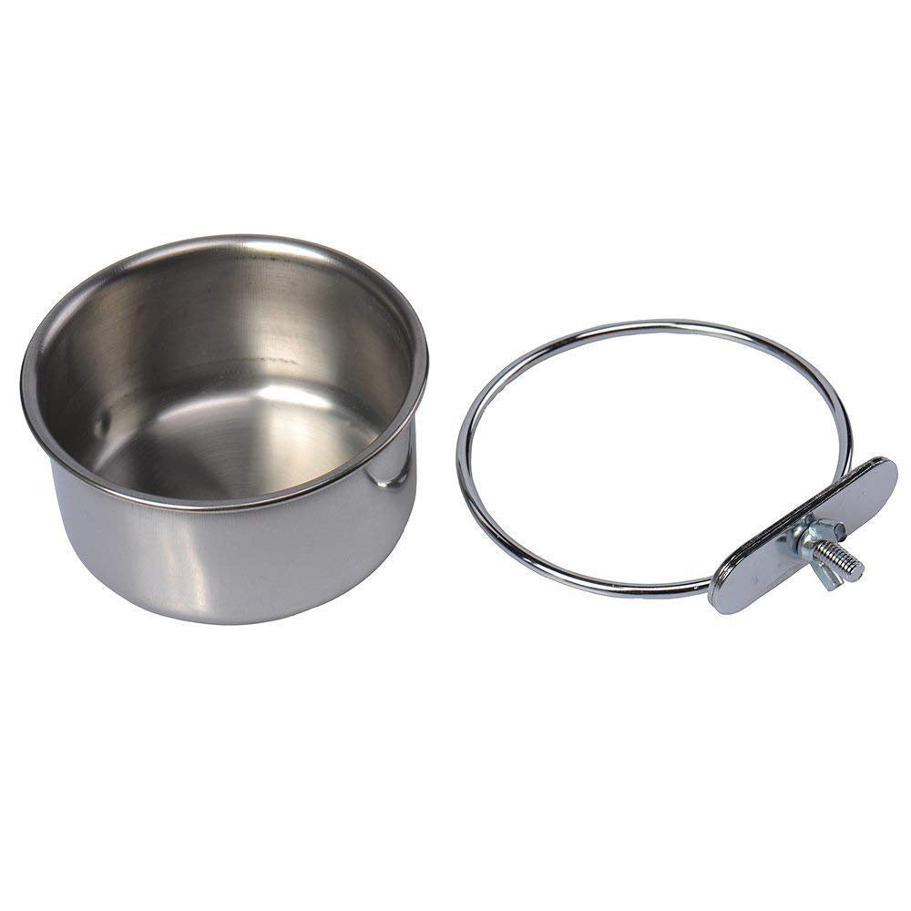Mrlipet Food & Water Bird Cup with Clamp Holder Stainless Steel