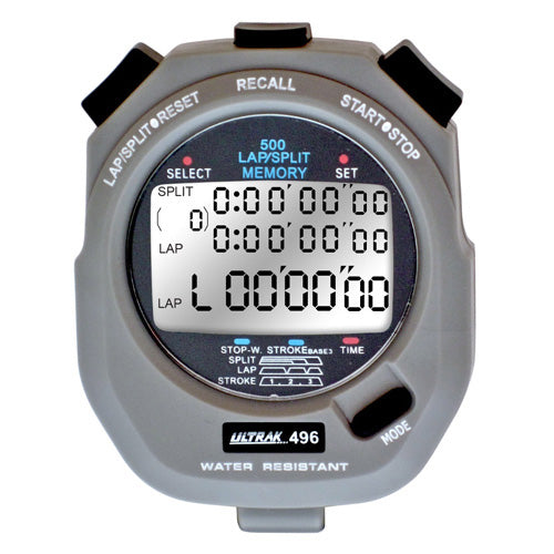 Ultrak 496 500-Lap Dual Split Memory Timer Running Stopwatch w/ Stroke Frequency