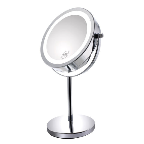 Gospire 10x Magnified Lighted Makeup Mirror Double Sided Round 7""