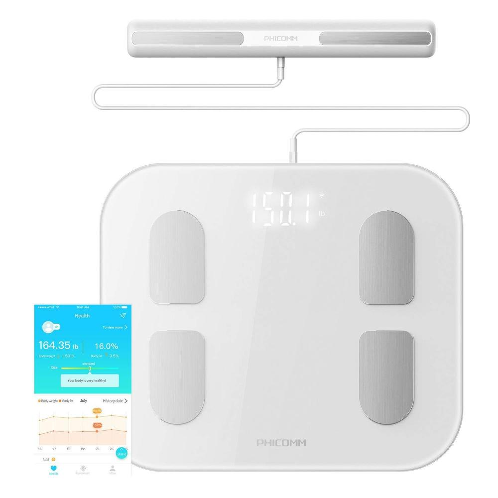 Phicomm S7 Smart Body Fat Weight Scale with Fitness App & Body Composition Monitor, 22 Indicators (Pearl White) (Like New)