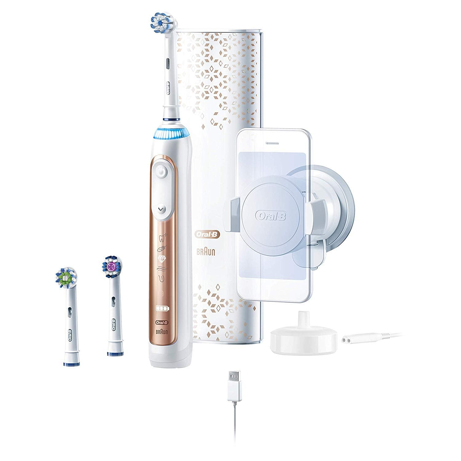Oral-B 9600 Electric Toothbrush, 3 Brush Heads, Rose Gold