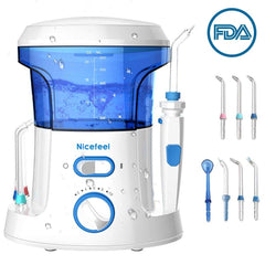 Nicefeel Electric Dental Water Flosser 600ml Capacity w/ 7 Multifunctional Tips
