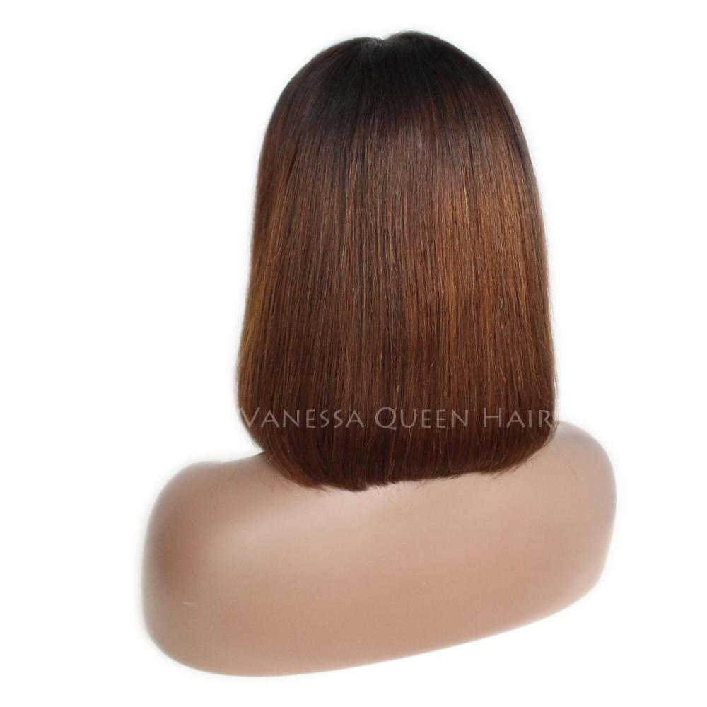 Maycaur Short Straight Human Hair Wigs Ombre Brown Lace 150 Density 12''