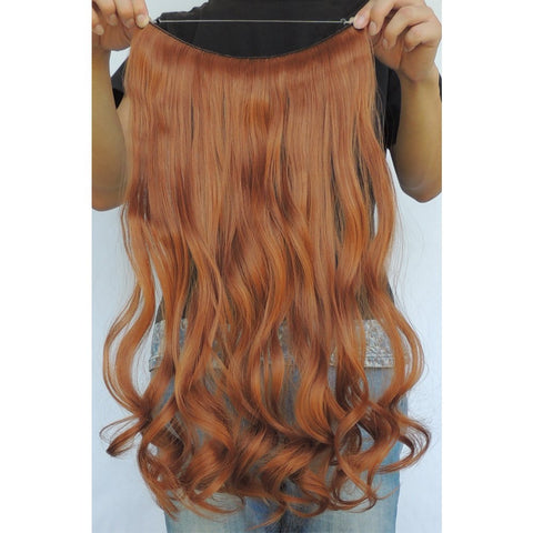 Secret Halo Hair Extensions Flip in Curly Wavy Synthetic Copper 30J 20''