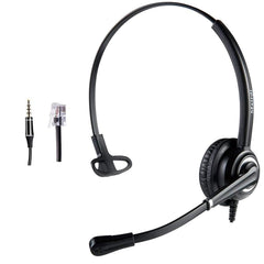 Corded RJ9 Telephone Headset With Noise Cancelling Microphone Jabra Compat (Like New)
