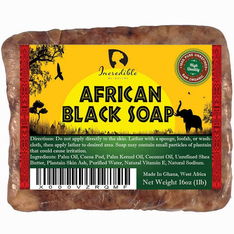 African Black Soap 1lb Raw Organic Soap for Acne, Dry Skin, Rashes, Burns