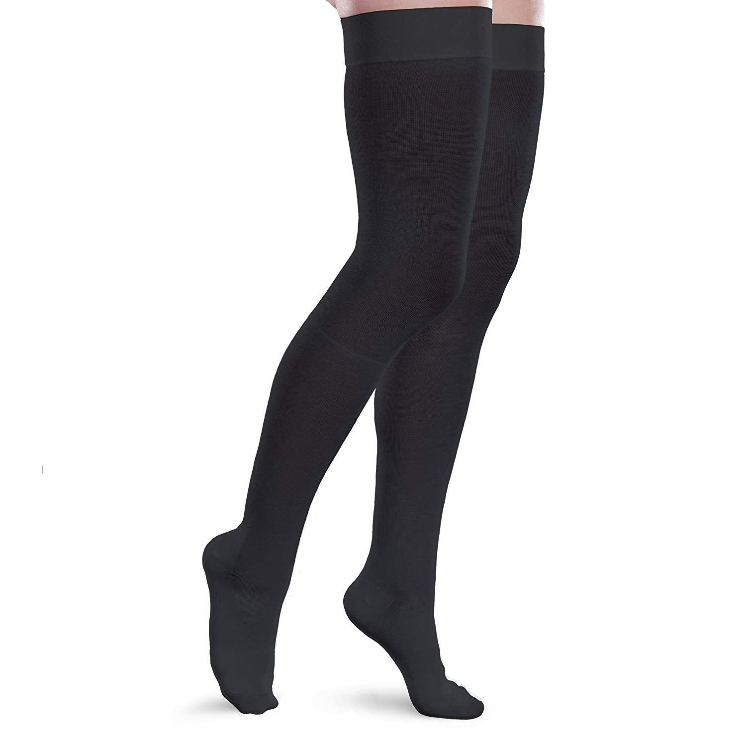Core-Spun 20-30mmHg Moderate Compression Thigh High Socks Black 3XL LONG
