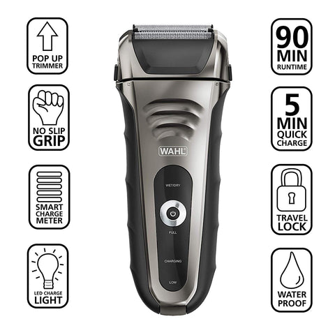 Wahl 7061-900 Smart Shave Rechargeable Lithium Ion Wet/Dry Shaver Waterproof