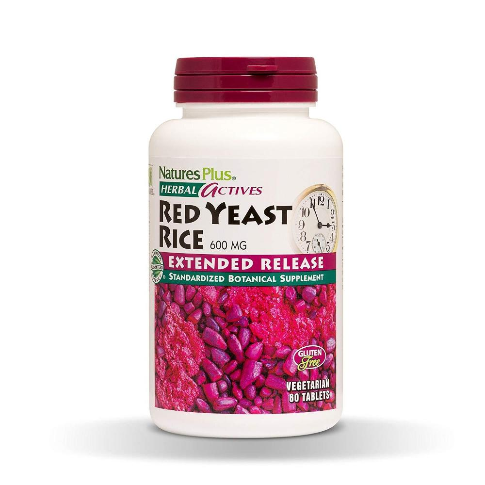 Natures Plus Herbal Actives Red Yeast Rice 600mg Extended Release 60 VEG TABLETS (EXP: 06/2020)