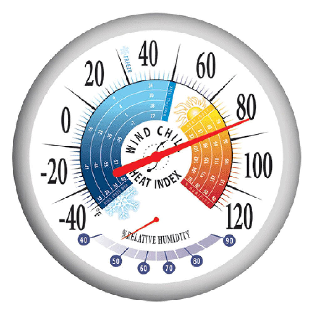 Springfield 90078 Thermometer with Hygrometer, Wind Chill and Heat Index