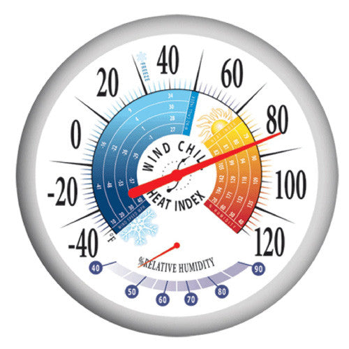 Springfield 90078 Outdoor Thermometer w/ Wind Chill-Heat Index Hygrometer 13.25""