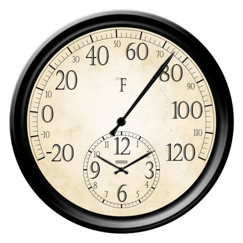 Springfield 91575 Patio Thermometer with Clock, 14-Inch