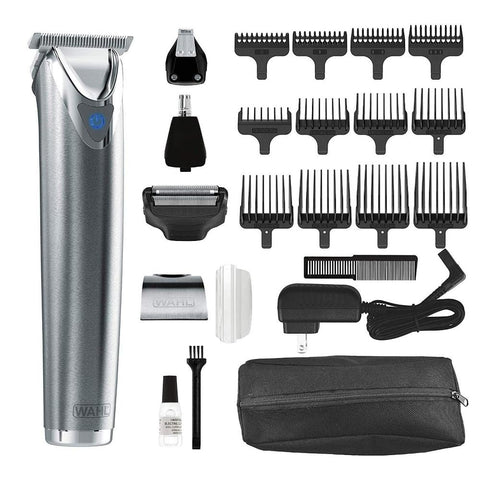 Wahl Clipper Stainless Steel Lithium Ion Plus Beard Trimmer Kit Brushed 9864SS Cordless Rechargeable Men's Grooming Kit for Haircuts and Beard Trimming (Like New)