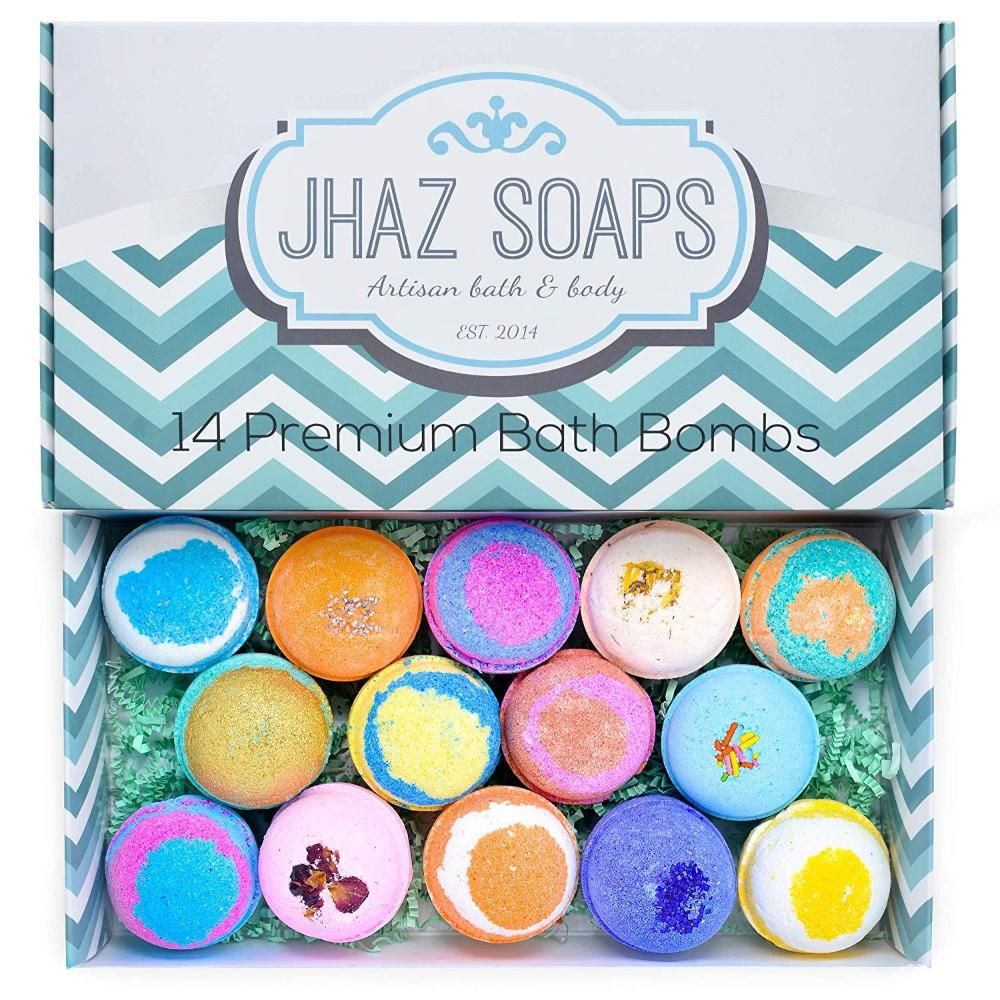 14 Bath Bombs by Jhaz Soaps: Gift Set, Lush Bath Experience Colorful Bath