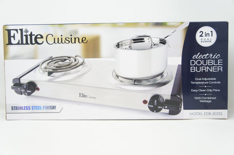 Elite Cuisine RV Portable Stove Electric Double Coil Burner Stainless Steel