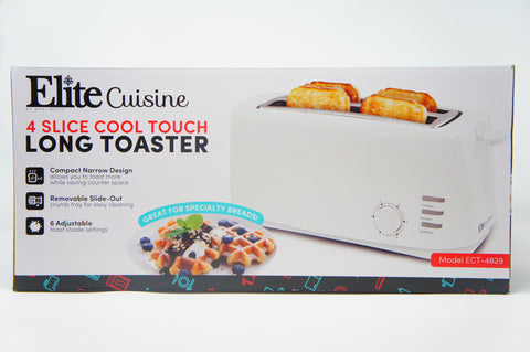 Elite Cuisine ECT-4829 Long Cool Touch 4-Slice Toaster with Extra Wide 1.25""