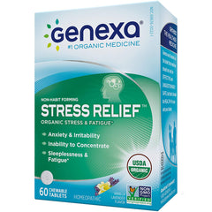 Genexa Homeopathic Stress & Anxiety Relief: Natural, Certified Organic, Physician Formulated, Non-Habit Forming, Non-GMO Stress Supplement. Promotes Calmness & Relaxation (60 Chewable Tablets) (H-10)