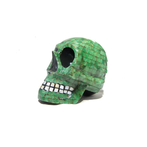 Mayan Skull Head Green Jade Mother Pearl and Oxidian Black from Yucatan