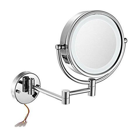 GURUN 8.5 Inch LED Lighted Wall Mount Hardwired Makeup Mirror with 10x Magnification direct wire,Chrome Finish M1809D (8.5in, Chrome hardwire)