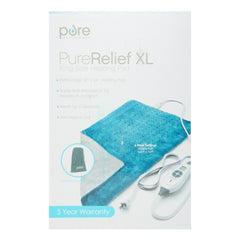 "PureRelief XL King Size Heating Pad 12"" x 24"" Fast-Heating Blue"