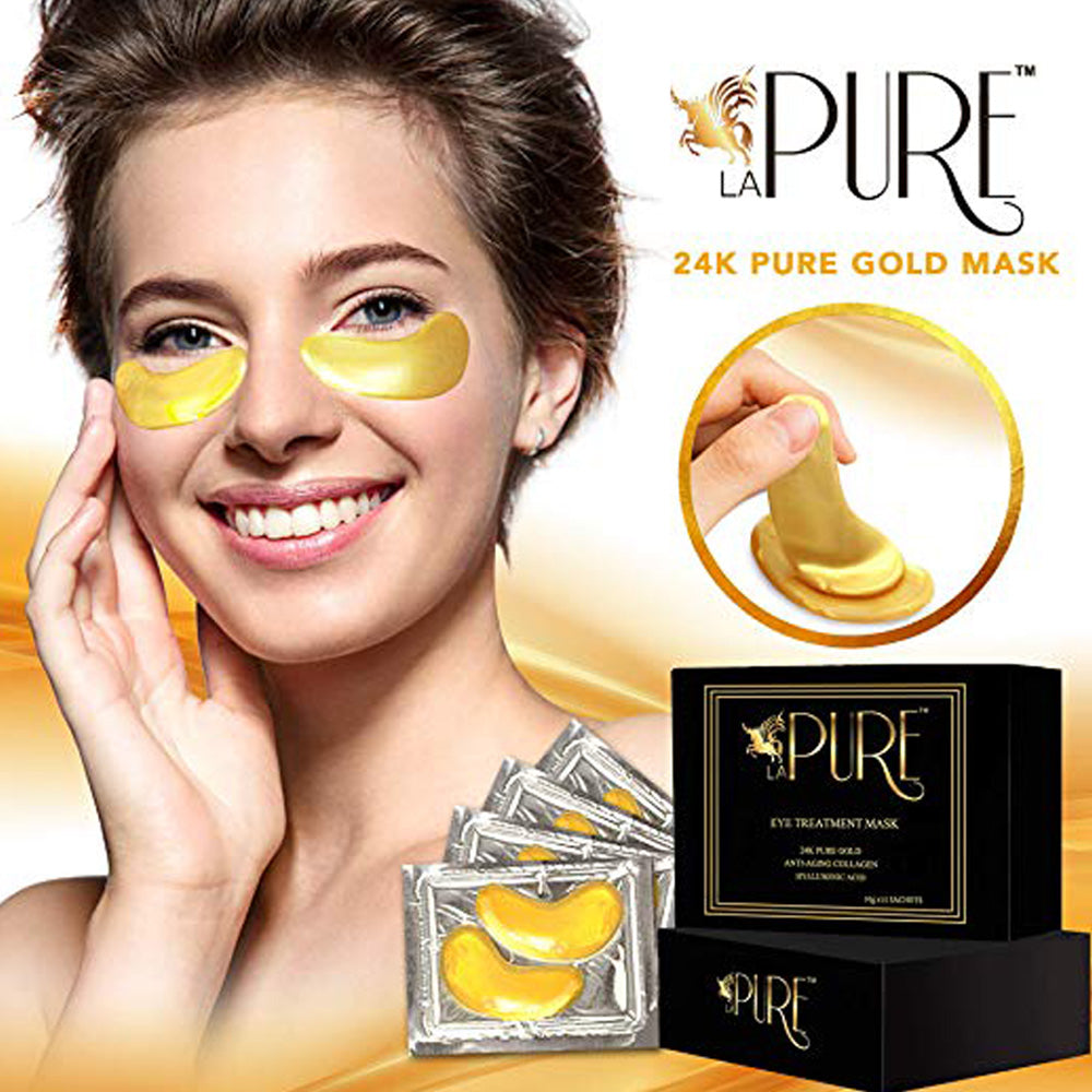 PURE 24K Gold Eye Treatment Mask | Under Patches, Anti-Wrinkle 15 Bags