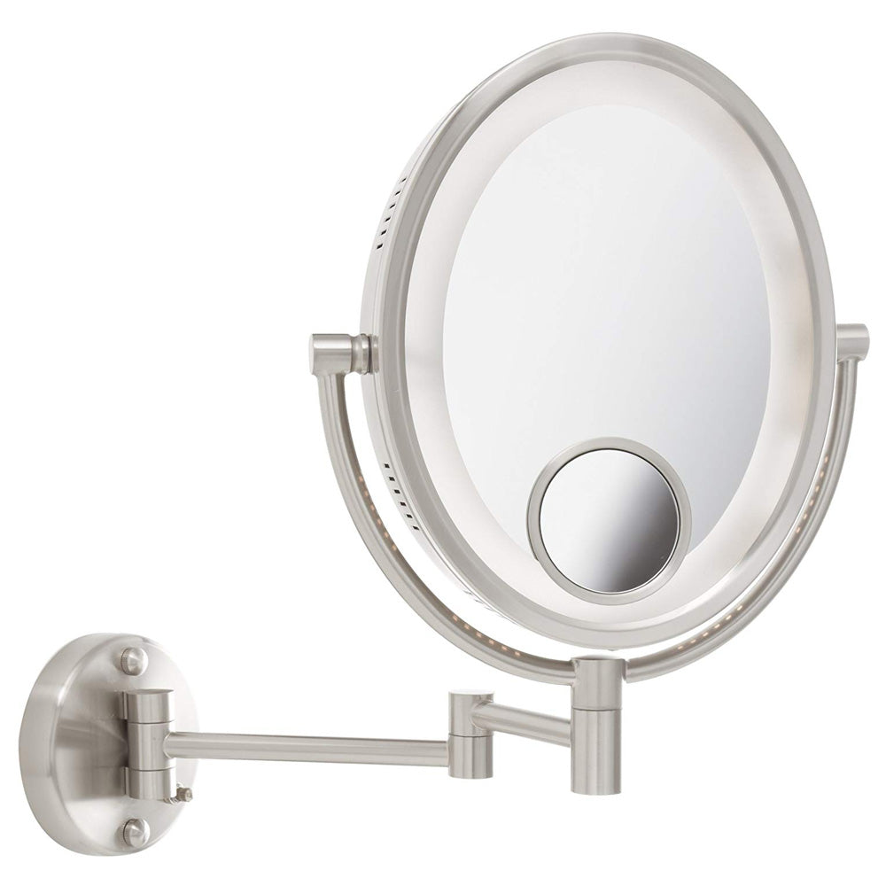 Jerdon Hl9515n 8 Lighted Wall Mount Oval Makeup Mirror 10x 15x