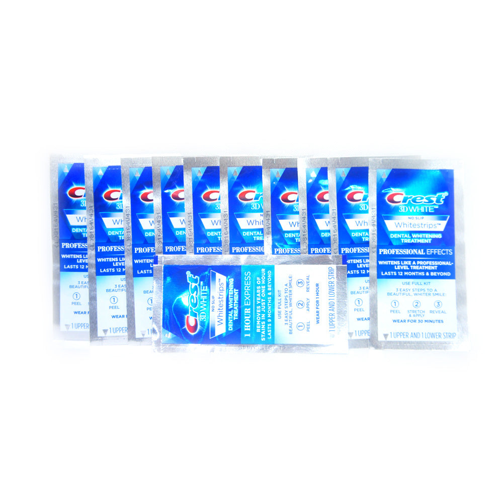 11 POUCHES/22 STRIPS CREST Whitestrips 3D White NO-SLIP Professional Effects
