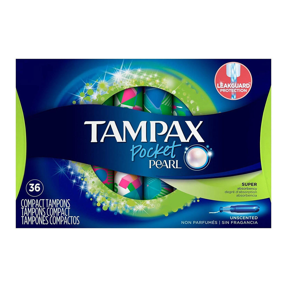 Tampax Compact Plastic Tampons, Super Absorbency Unscented 36 Ct