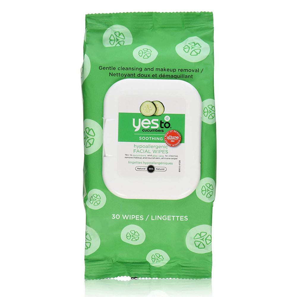 Yes To Cucumber Hypoallergenic Facial Towelettes, 30 Count PACK OF 2