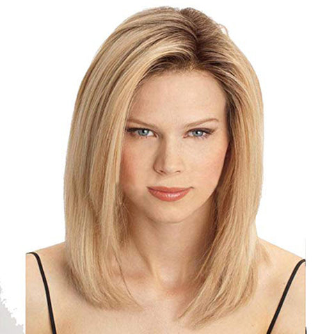 Amorwig Shoulder Length Straight Bob Hair Wig For Women Darker Blonde