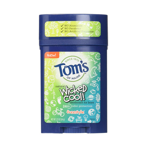Tom's of Maine Wicked Cool Teen Boys Natural Freestyle Deodorant 2.25 (6 PACK)