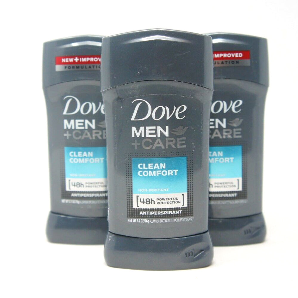 Dove Men+Care Antiperspirant Deodorant Stick Clean Comfort 2.7 oz. 3 PCK