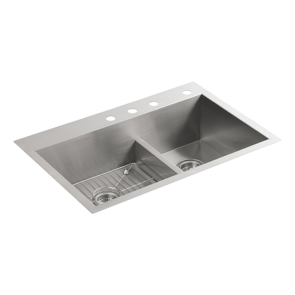 Kohler K-3839-4-NA Vault Smart Divide Offset Sink, Stainless Steel (Used)