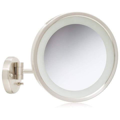 Jerdon HL1016NL 9.5-Inch LED Lighted Wall Mount Makeup Mirror with 5x