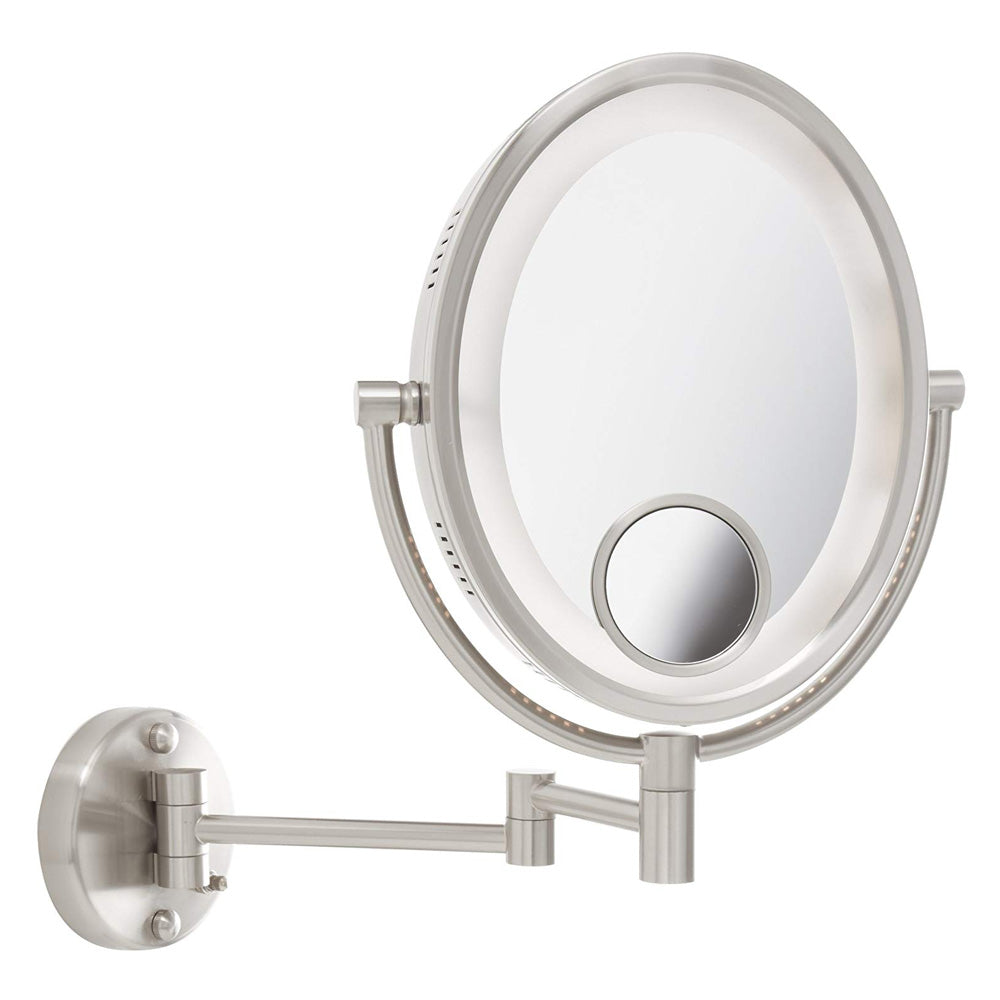 Jerdon HL9515N 8-Inch Lighted Wall Mount Oval Makeup Mirror with 10x and 15x Magnification, Nickel Finish (Used)