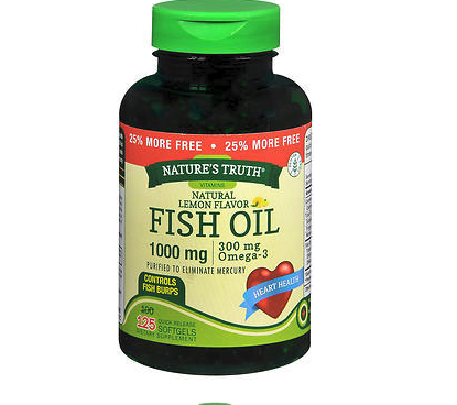 Nature's Truth Omega-3 Fish Oil 1000 mg Natural Lemon Flavor, 125 Capsules