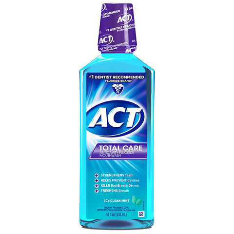 ACT Total Care Mouthwash, Icy Clean Mint, 18-Ounce Bottle