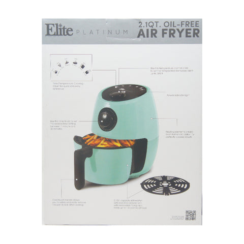 Elite Platinum EAF-8061BL 2.1 qt. Aqua Hot Air Fryer