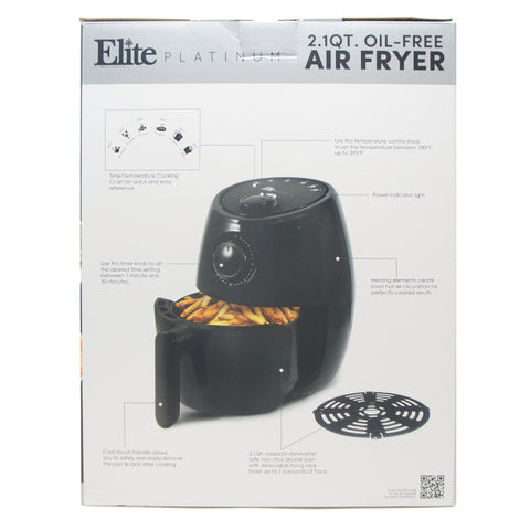 Maxi-Matic Personal Electric Hot Air Fryer 1000-Watts, Black 2.1 Quart EAF-8061