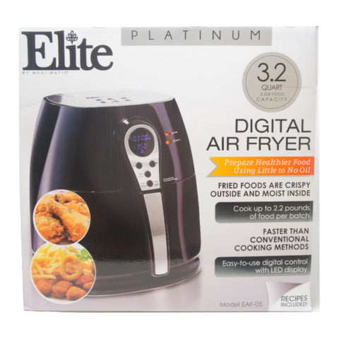 Elite Platinum EAF-05 Electric Digital Hot Air Fryer 1400W 3.2 Quart, Black
