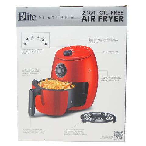 Maxi-Matic Personal Electric Hot Air Fryer 1000-Watts, Red 2.1 Quart EAF-0201R