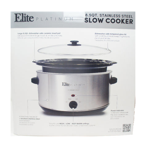 Elite MST-900V Stainless Steel Slow Cooker with Tempered Glass Lid 8.5 Qt Silver
