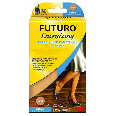 FUTURO Energizing Ultra Sheer Pantyhose for Women (Brief Cut) - 8-15 Mmhg