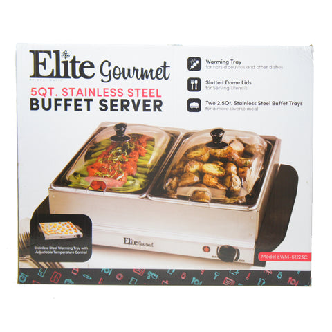 Elite EWM-6122SC Dual Buffet Server Food Warmer 2 x 2.5Qt Trays