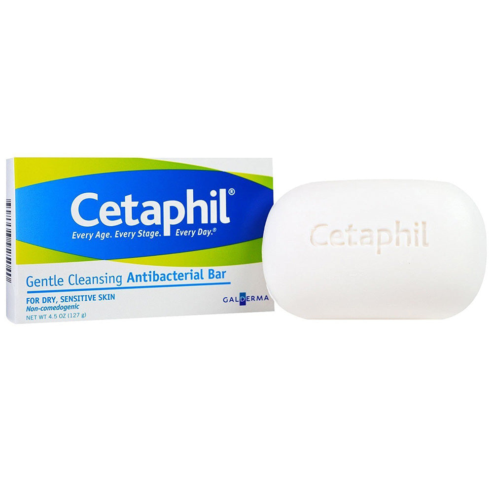 Cetaphil Gentle Cleansing Antibacterial 4.5oz Bar Soap PACK OF 3
